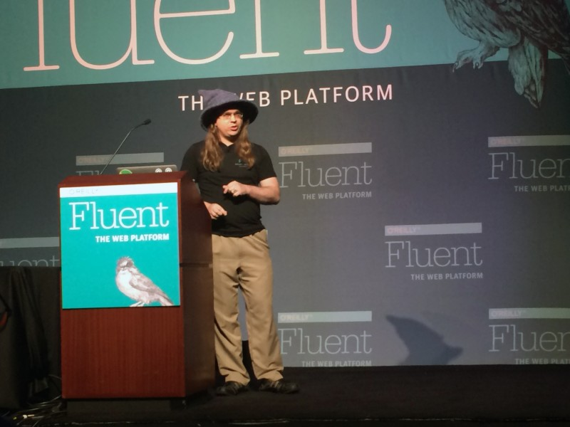 Kris Kowal speaking at Fluent. Everybody loves the wizard hat.